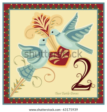 Two turtle doves stock images royalty free images vectors the 12 days of christmas 2 nd day two turtle doves vector pronofoot35fo Image collections