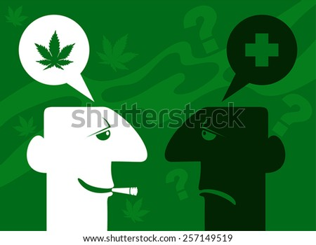 The debate about marijuana. Two simple head, discussing marijuana as a medicine. - stock vector