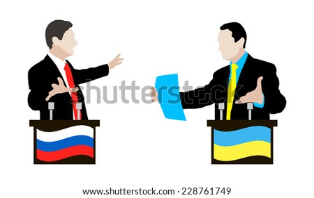 The debate between the Ukrainian and Russian speakers. Debate and controversy between conflicting parties. Ukraine. Russia.  Negotiations and rhetoric. Flag. Icon.
