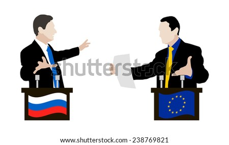 The debate between the Ukrainian and Russian speakers. Rhetoric, negotiations and disputes between the parties. Negotiations. Flag. Vector. Icon. Russia. European Union. Flag of the European Union. - stock vector