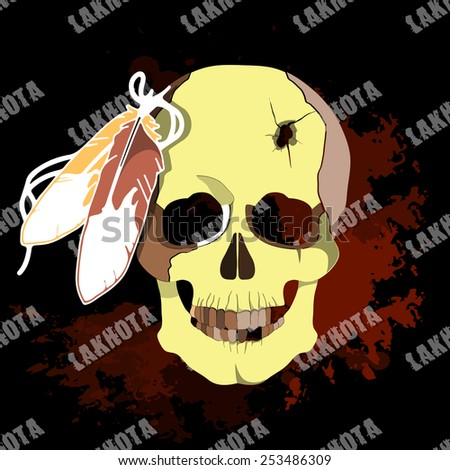 The deceased native American Lakhota. Conceptual vector illustration for print. Vector illustration. - stock vector