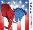 The democrat and republican symbols of a donkey and elephant facing off. - stock photo