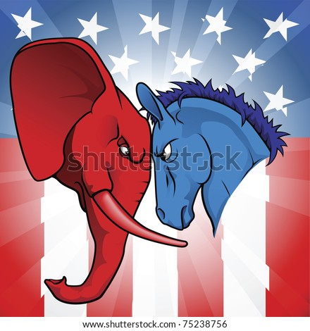 The democrat and republican symbols of a donkey and elephant facing off. - stock vector