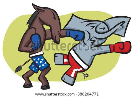 The Democratic donkey getting his shots in - stock vector