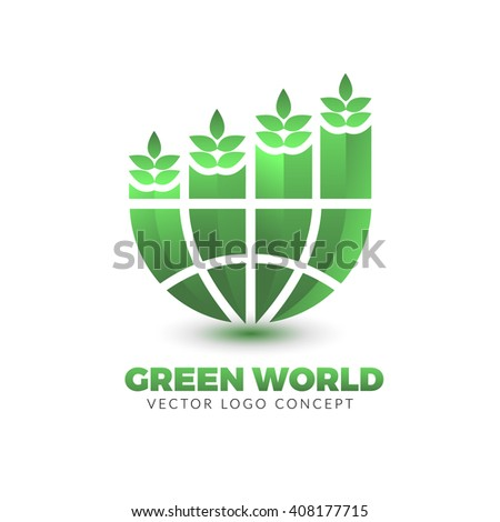 The design is suitable for all ecology related businesses, innovative materials and technologies, water, fresh food and nature. Green leafs and globe Eco icon. - stock vector