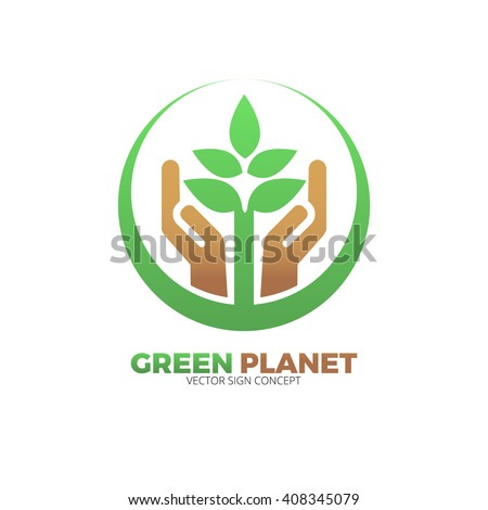 The design is suitable for all ecology related businesses, innovative materials and technologies, water, fresh food and nature. Hand holding Green leafs Eco icon. - stock vector