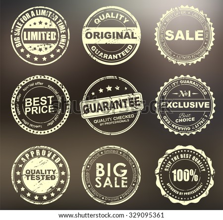 The design of the old worn round stamps for sale, discounts, advertising, quality product on a blurred background. Vector illustration. Set - stock vector