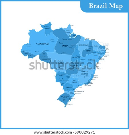 Detailed Map Brazil Regions States Cities Stock Vector - Map of brazil with cities