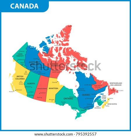 detailed map canada regions states cities stock vector 795392557 shutterstock