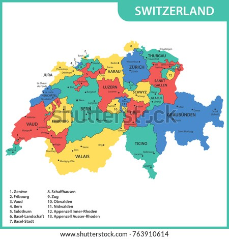 Detailed Map Switzerland Regions States Cities Stock Vector (Royalty ...