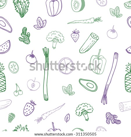 The detox and healthy eating concept. Hand drawn vector background for your design with raw vegetarian food and drinks. Seamless pattern.