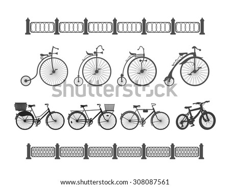 the development of the bicycle from the ancient to the modern a set of bicycles from antiquity to the modern on a white background and the edge of the fences - stock vector