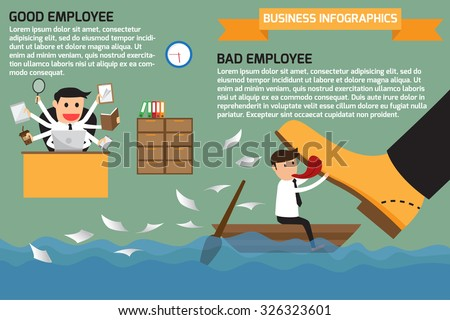 The difference between a good employee with a bad employee. bad and good worker infographics.