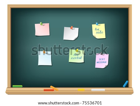 The different papers and push pins on the school blackboard