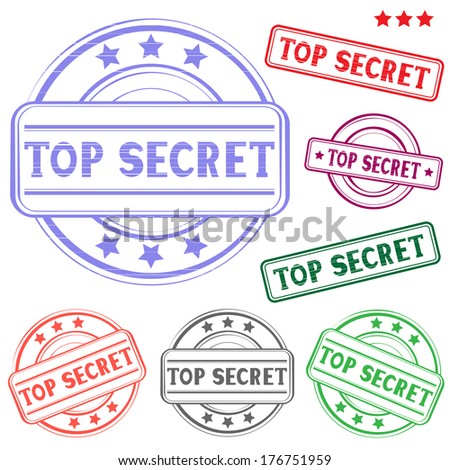 The different top secret colored stamp isolated on white background - stock vector