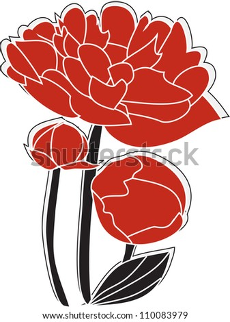 the dismissed peony - stock vector