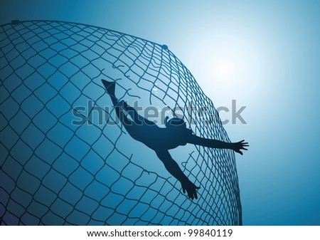 The diver floats through a hole in a fishing net - stock vector