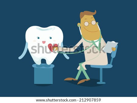 The doctor check checkup tooth - stock vector
