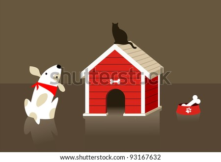 The dog looks at the cat carefully. Vector file available. - stock vector