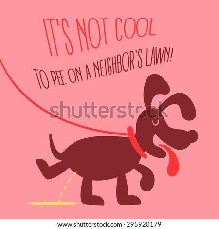 The dog peeing illustration in retro style on a pink background. Fully editable vector illustration. Perfect suit for informational plates, pet regrets, cards.