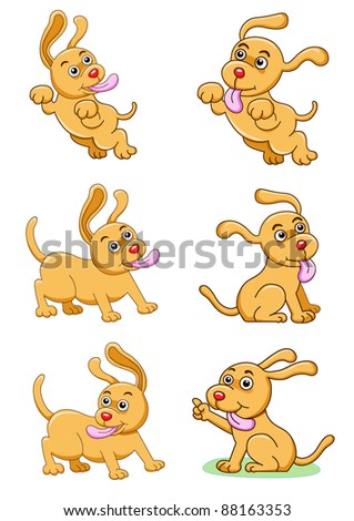 the dog set - stock vector