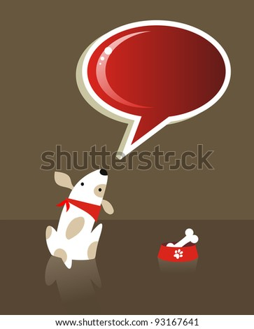 The dog with bone food and red social bubble over brown background. Vector file available - stock vector