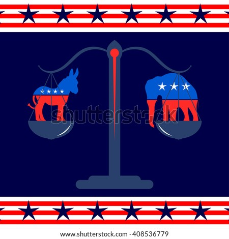 The donkey and the elephant in the scales. Democratic and Republican party symbols. The Presidential election in US. Vector illustration.