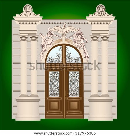 The door of the building with wrought ornaments - stock vector