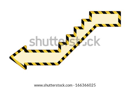 The downstairs arrow icon with black and yellow strokes / Stair arrow icon / The under construction style arrow - stock vector