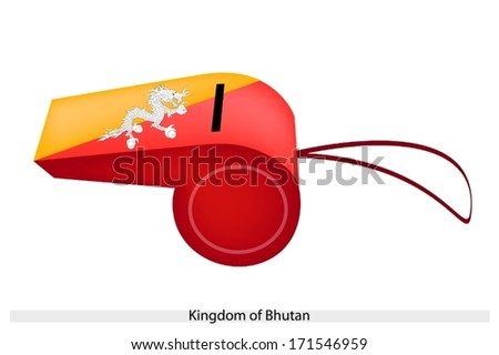 The Dragon Holding Jewels in Its Claws on Orange and Yellow Colors of The Kingdom of Bhutan Flag on A Whistle, The Sport Concept and Political Symbol.