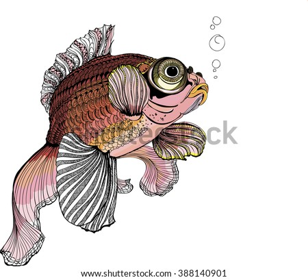 the drawing with gold fish, tradition Chinese fish