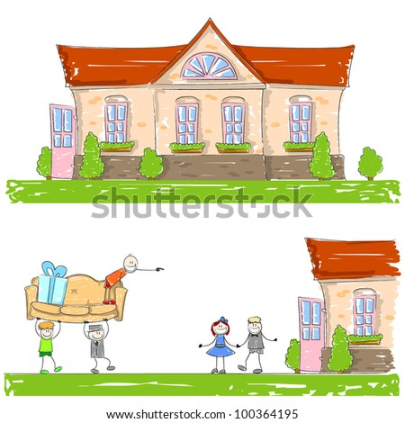 The drawn house and people - stock vector