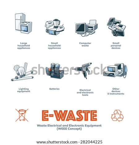 The e-waste electrical and electronic equipment categories infographic icon concept. - stock vector