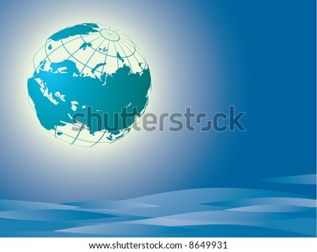 The Earth. Europe and asia. Vector - stock vector