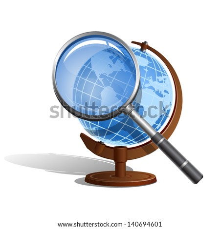 The Earth globe with The Magnifying glass - icon isolated on white background. Vector. - stock vector