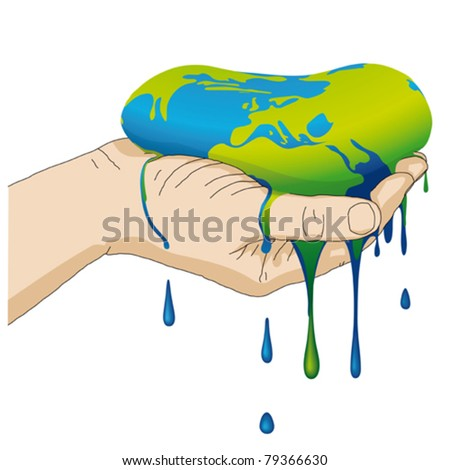 the earth melts - stock vector
