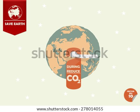 the earth with door handle and hanging room tag with text shown during reduce carbon dioxide or CO2 - stock vector