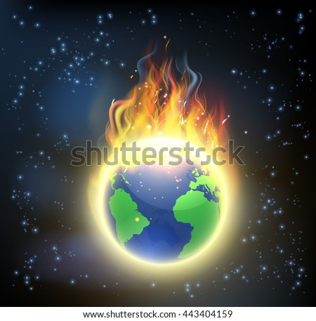 The earth world globe on fire, concept for climate change, global warming, or other disasters - stock vector
