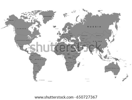 Earth World Map On White Background Stock Vector - Blank world map including antarctica