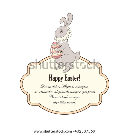The Easter Bunny  in the collar holding a patterned egg and frame for greeting. Vector background.