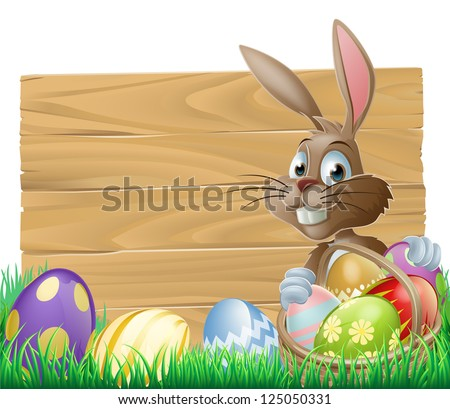 The Easter bunny with a basket of Easter eggs with more Easter eggs around him by a wood sign board - stock vector