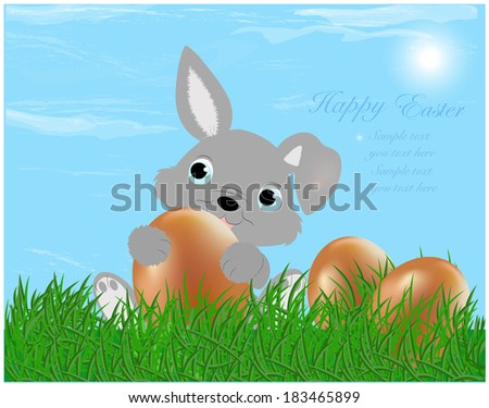 The Easter bunny with Easter eggs with more Easter eggs around him - stock vector