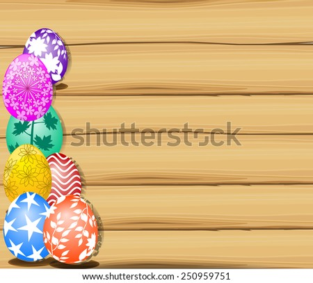 The Easter with eggs  and wood sign board - stock vector