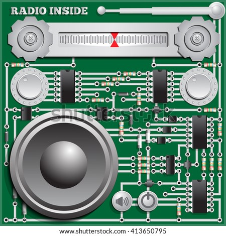 The electronic board in the form of radio. Vector illustration. - stock vector