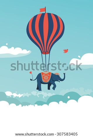 The elephant is flying above the clouds. Vector illustration. - stock vector