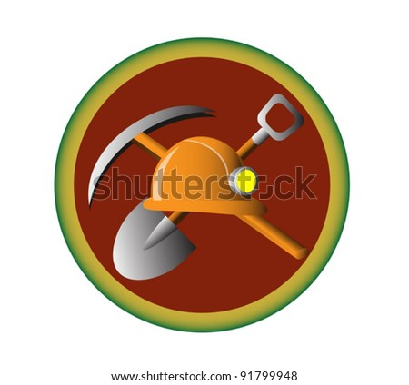 The emble of the miner work, with the shovel, pick and helmet on it. - stock vector