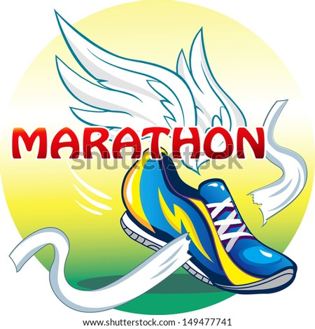 the emblem of the marathon - stock vector