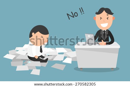 The employee's work got rejected by his boss - stock vector