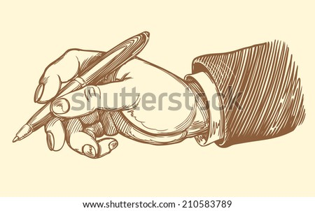 the employer signed an employment agreement. Monochrome Engraving. Vector illustration 8 eps. - stock vector