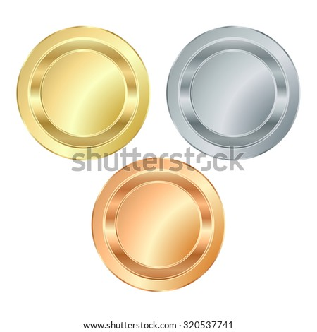 The empty vector stamp with gold silver bronze, which can be used as icons, buttons, coins, medals - stock vector